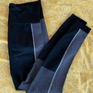 Pants - High-Waisted Gray and Black Workout Leggings